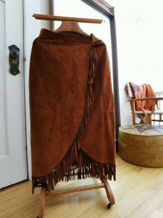 Vintage Danier Suede Fringed Wrap Skirt / Long Ski