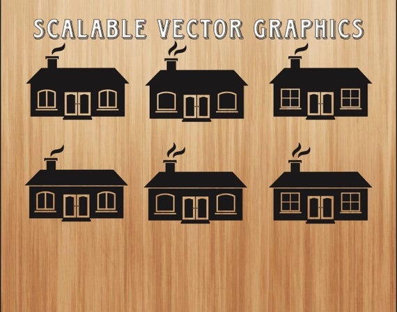 House Silhouettes Svg House Clipart House Svg Cut File Etsy