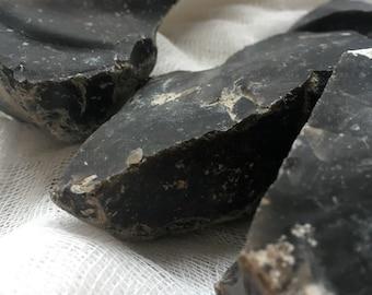 FLINT Stone Rock (Real, Natural & Black)