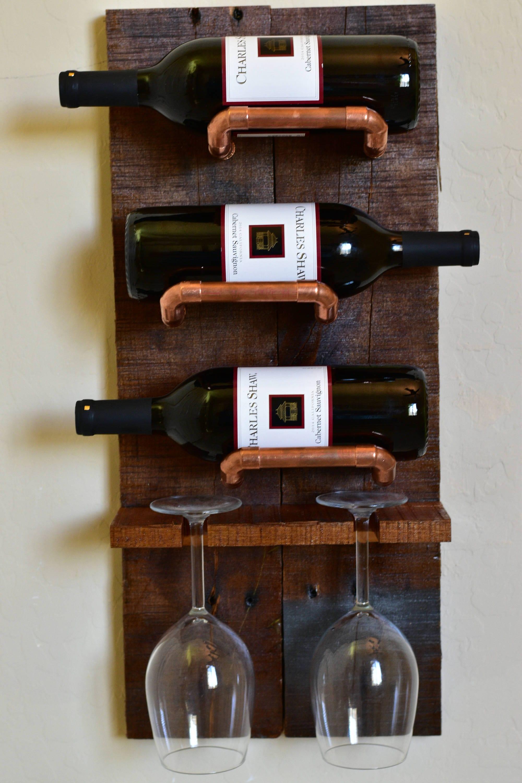 3 Bottle 2 Glass Wall Mounted Wine Rack