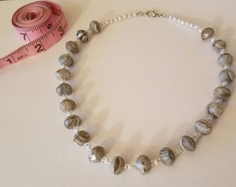 White and Gray Glass Bead Necklace