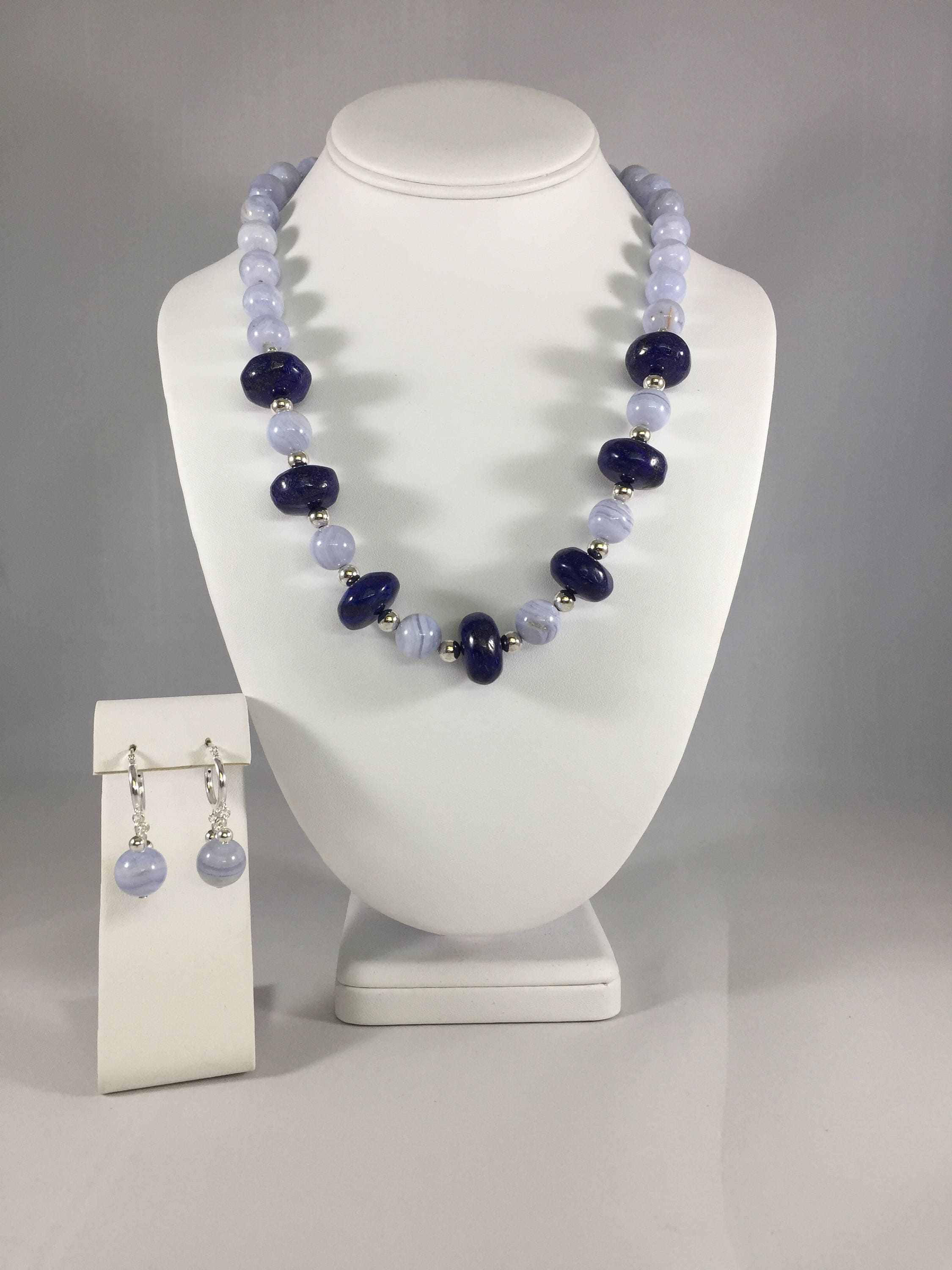 Blue Lace Agate (Natural) and Lapis Lazuli (Natural) Gemstone Necklace and Earrings Set Sterling Silver Earrings.Handmade Necklace For Her