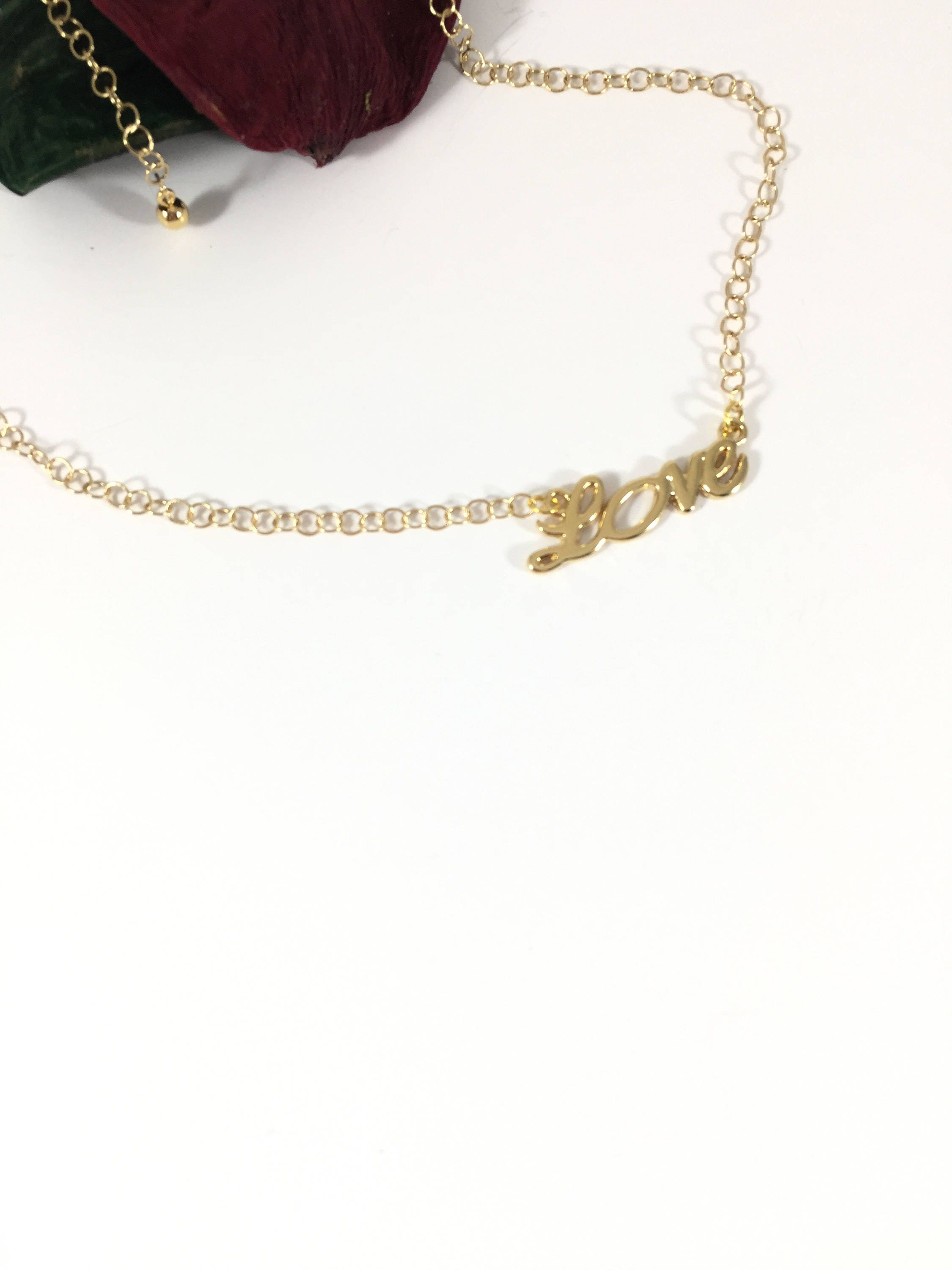 Handmade Necklace 14K Gold Plated Love Charm Jewelry Lovers Handmade Jewelry Gift For Her