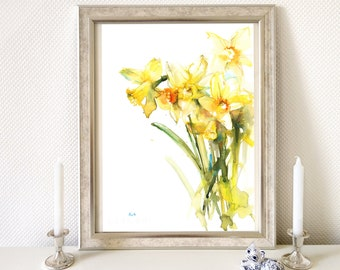 Print of yellow daffodil floral watercolor painting for wall decor, Spring flowers wall art print, daffodil flower art poster