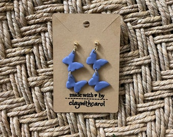 Butterfly dangle earrings / Blue minimal Butterfly earrings/ Blue Butterfly / Butterfly Clay Earrings /  Gold ball post earrings