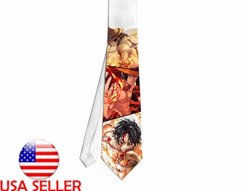 One Piece Ace Fire Anime Fan Art Necktie Neck Tie Video Game Unique Gift Cosplay