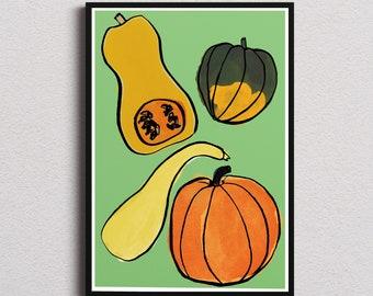 Squash kitchen decor print/ Instant download wall art/ healthy food printable home decor/ fruits digital poster