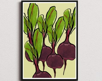 Red beets kitchen decor print/ Instant download wall art/ healthy food printable home decor/ vegetables digital poster