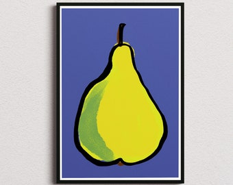 Pear kitchen decor print/ Instant download wall art/ healthy food printable home decor/ fruits digital poster