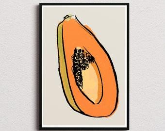 Papaya kitchen decor print/ Instant download wall art/ healthy food printable home decor/ fruits digital poster