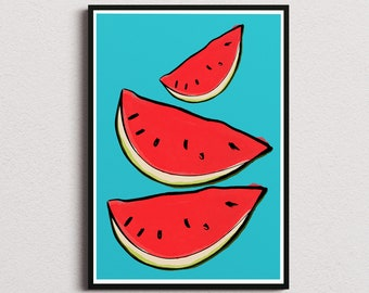 Watermelons kitchen decor print/ Instant download wall art/ healthy food printable home decor/ fruits digital poster