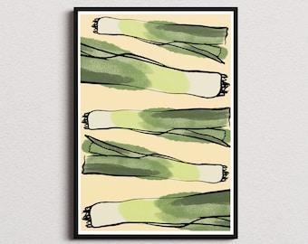 Leeks kitchen decor print/ Instant download wall art/ healthy food printable home decor/ fruits digital poster
