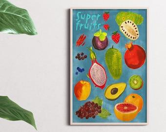Super fruits instant downloadable kitchen wall art/ home decor print/ super fruits poster/ super food print/ digital art