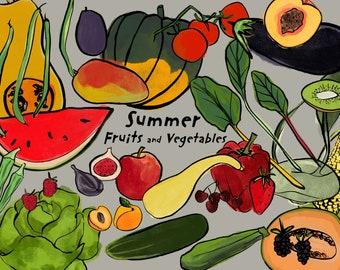 Seasonal fruits and veggies kitchen decor print/ Instant download wall art/ healthy food printable home decor/ summer season food