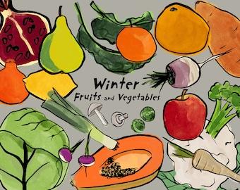 Seasonal fruits and veggies kitchen decor print/ Instant download wall art/ healthy food printable home decor/ winter season food