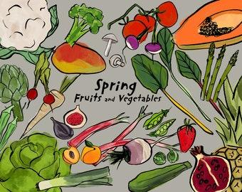 Seasonal fruits and veggies kitchen decor print/ Instant download wall art/ healthy food printable home decor/ spring season food