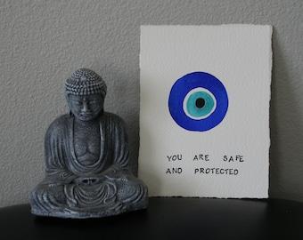 Evil Eye/Nazar protection talizman/abstract symbol/ digital downloadable decorative print/ karma wall art/ printable minimal amulet