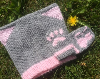 Cat Hat and Mittens Knitting Pattern