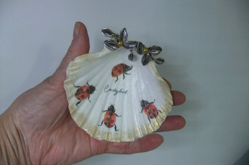 Trinket Dish Shell Dish,Ring Dish,Ladybirds,Mothers Day Gift