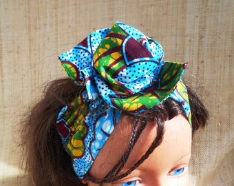 African turban, hard headband for girl and woman, wax patterns turquoise floral