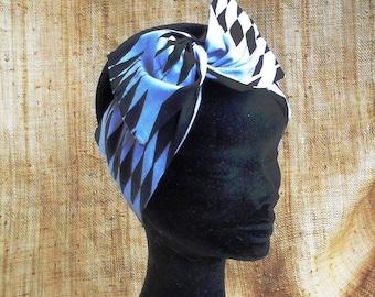 Headpiece rigid woman white black Kente fabric 0193bf0f108
