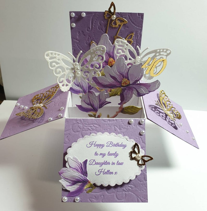 Beautiful personalised pop up box card for any occation   Etsy