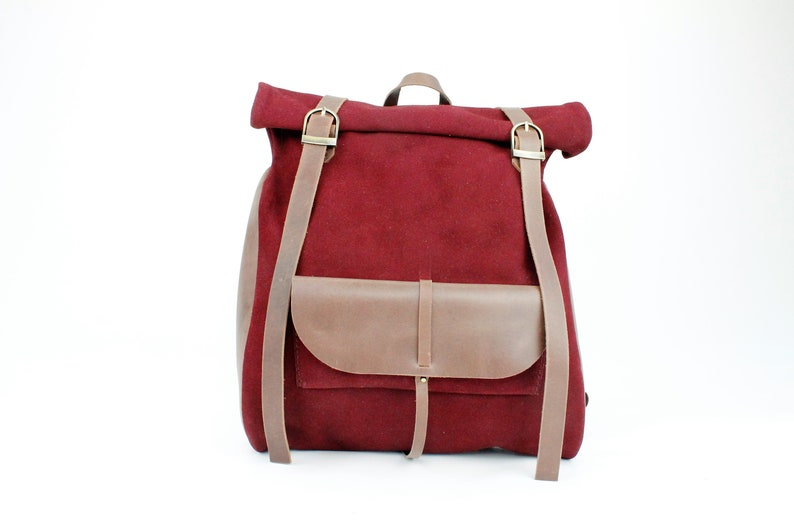 Red Backpack,Book Bag Rucksack Weekender Leather backpack Bag Roll Top Bag Rucksack RollTop Backpack Leather Roll Top Backpack Pocket