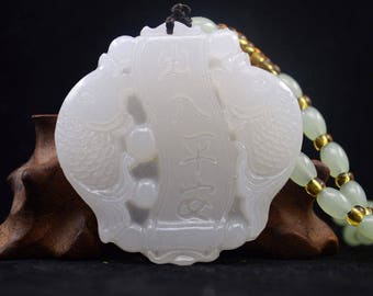 China Hand carved natural white Jade Pendant Necklaces