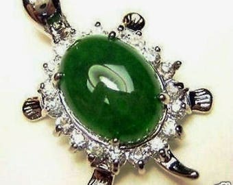 Green Jade Silver Amulet pendant Necklaces Turtle