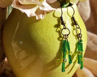 Beaded Tassel Dangle Earrings in Green