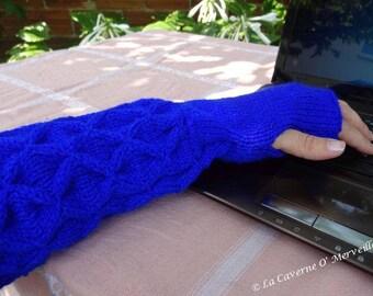 Royal Blue: Fingerless gloves arm warmers flocked
