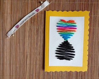 Greeting card: Rainbow heart - reflection