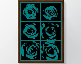 A1 Poster of Roses with Green Background
