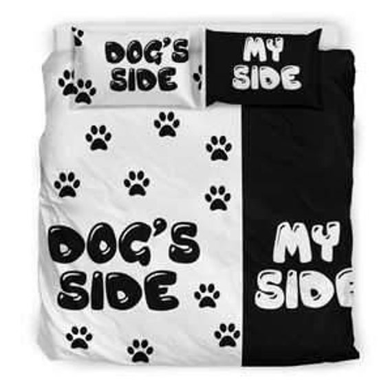 Her Side His Side Lenzuola.Dog Side My Side Bedding Set Dog Prints Blanket Dog Prints Items Pug Poodle Chihuahua Boxer Dachshund Comforter Dog Prints Duvet