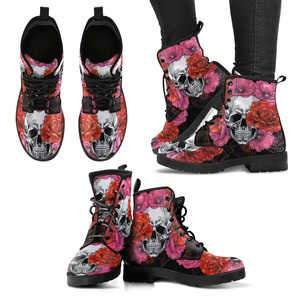 Roses and Skull Women's Boots, Best Floral Skull Boots, Sugar Women, Skull Shoes, Leather Boots Women, Sugar Sugar Skull Gifts, Day of the Dead Boots 2b00eb