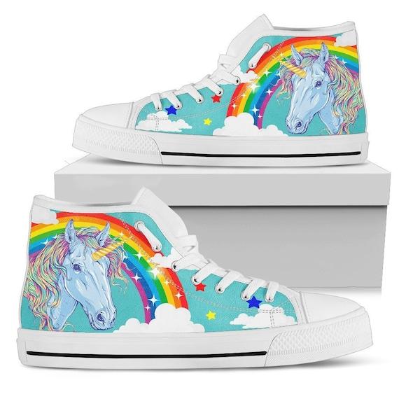 Rainbow Unicorn Blue Women's High Top