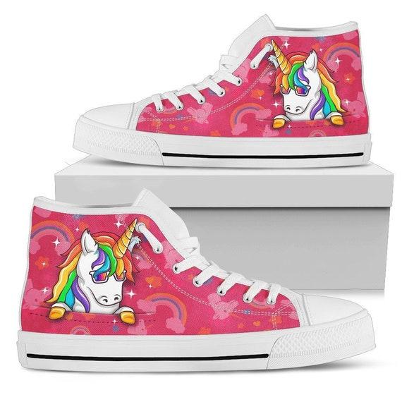 Rainbow Unicorn High Top Shoes Pink