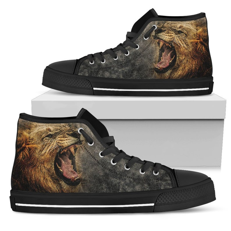 8bb111bf965aa Lion Roar Men's High Top Canvas Shoes, Men's Shoes, High Top Shoes, Lion  Shoes, Shoes for Men, Animal Theme Design Shoes, Printed Art Shoes