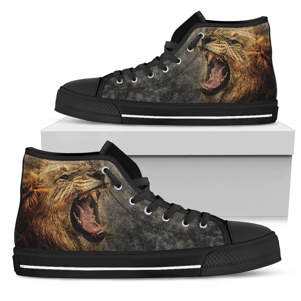Lion Roar Men's High Top Canvas Shoes, Men's Shoes, High Shoes Top Shoes, Lion Shoes, Shoes High for Men, Animal Theme Design Shoes, Printed Art Shoes 8f6273