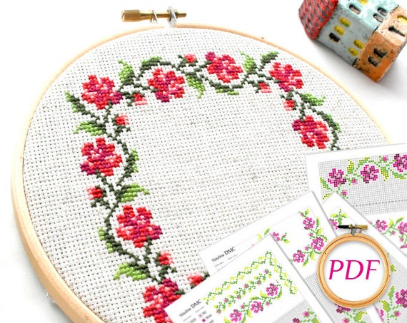 Flower Embroidery Pattern Pdf Rose Cross Stitch Pattern Cross Etsy Simple Cross Stitch Flower Patterns