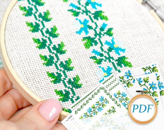Hand Embroidery Pattern Blue Flower Embroidery Pdf Flowers Etsy