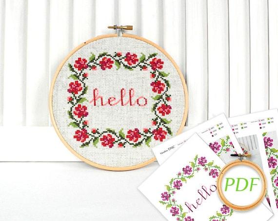 Pink Flowers Wreath Cross Stitch Rose Pattern PDF Hello Cross Etsy Stunning Cross Stitch Flower Patterns