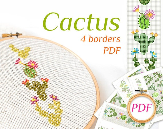Cactus Cross Stitch Patterns Pdf Modern Embroidery Easy Cactus Etsy