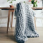 Chunky Knit Blanket. Super Merino Wool, Super Chunky Knits, Chunky Blanket,Knit Throw Blanket,Lana Gigante,Arm knit