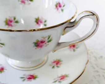 Wileman Pre-Shelley The Foley China 7447 Pink Rosebud Teacup & Saucer c.1900s Vintage