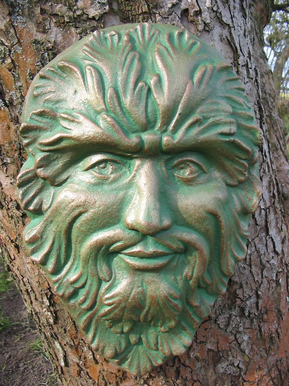 Greenman wall ornament,Garden stone wall hanging greenman,Feather /& Acorn Face