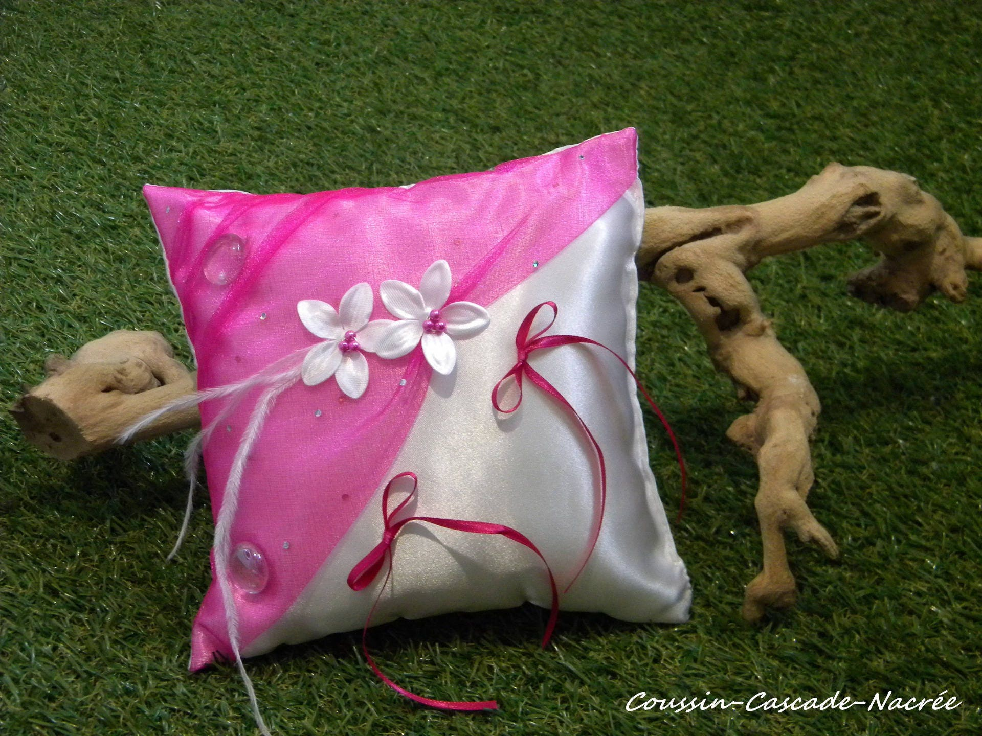 white flower fuschia wedding ring bearer pillow silk tie