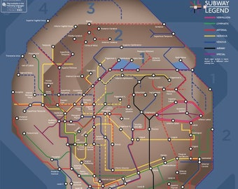 Subway Map Of The Brain.Schematic Subway Map Illustrations Of Human By Medillustrations