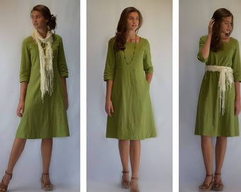 Modest Green Linen Dress with Square Neck (optional lengths)