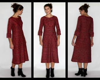 Modest Red Sweater Dress (optional lengths)